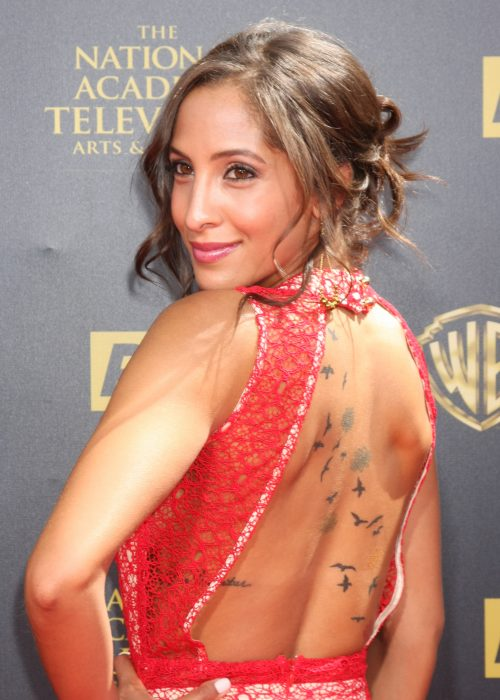 Christel khalil flock of birds flowers back tattoo for Christel khalil tattoos