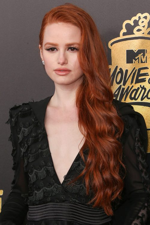 Madelaine Petsch Wavy Auburn Side Part Hairstyle Steal