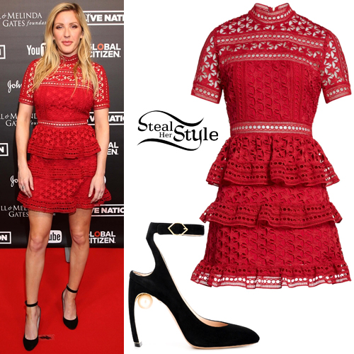 a635c44bbd4e Ellie Goulding: Red Lace Dress, Suede Pumps | Steal Her Style