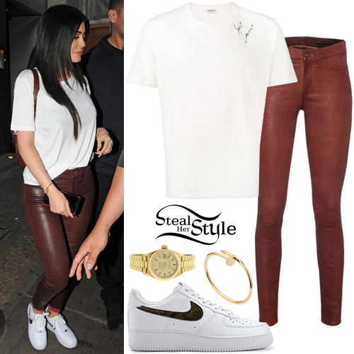 Kylie Jenner White T Shirt Leather Pants Steal Her Style