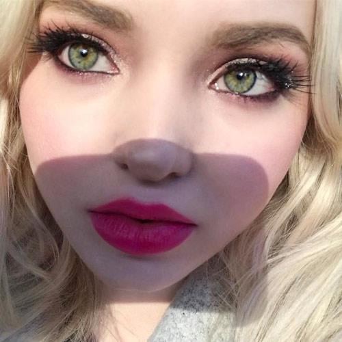Dove Cameron Makeup Black Eyeshadow Brown Eyeshadow Taupe Eyeshadow Amp Hot Pink Lipstick