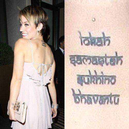 Neck Girl S Tara Mantra Tattoos: 17 Celebrity Sanskrit Tattoos