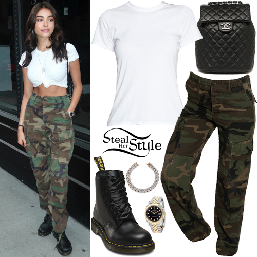 Madison Beer White T Shirt Camo Pants Steal Her Style