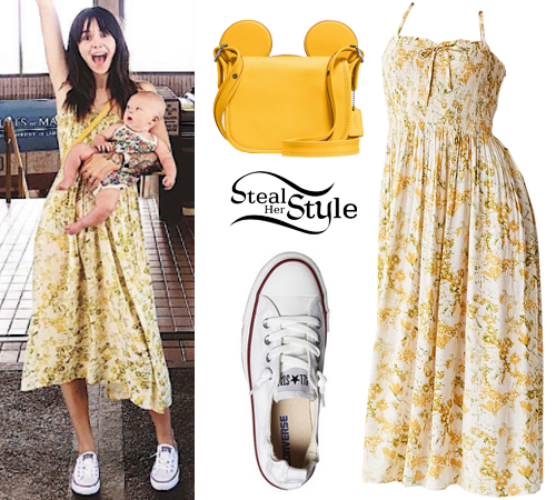 Acacia Brinley Clark: Yellow Floral Dress, White Sneakers ...