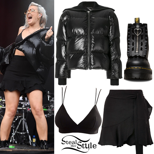 a8421dff2 Anne-Marie: Black Puffer Jacket, Wrap Skirt | Steal Her Style
