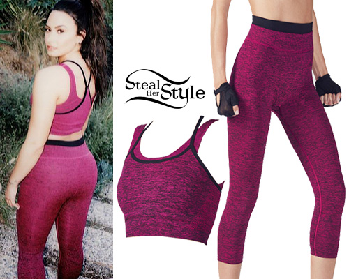 32d1d44d924ab Demi Lovato  Pink Sports Bra   Tights