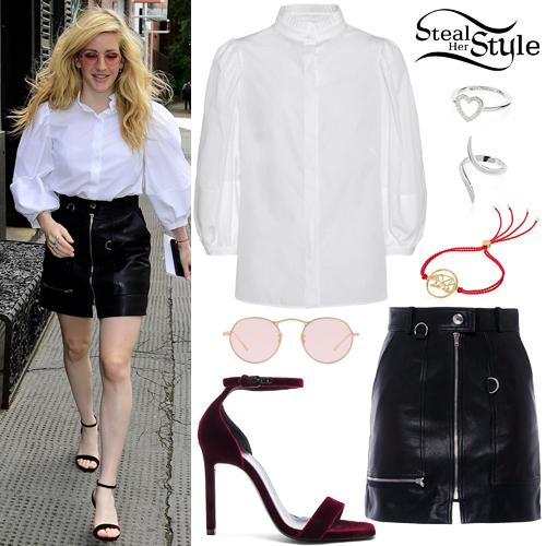 Ellie Goulding White Blouse Leather Mini Skirt