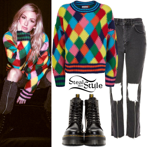 Ellie Goulding Diamond Sweater Ripped Zip Jeans