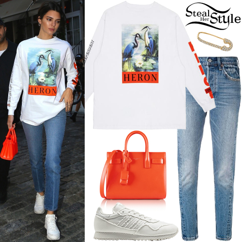 Kendall Jenner Graphic T Shirt White Sneakers Steal Her Style