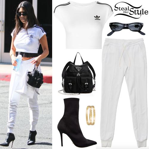 Kourtney Kardashian Adidas Crop Tee White Joggers