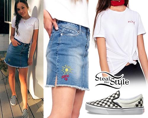 Maddie Ziegler Wwmy Tee Denim Skirt Steal Her Style