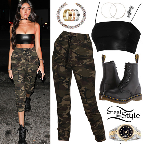Madison Beer Leather Crop Top Camo Pants Steal Her Style