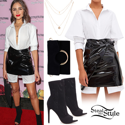 good selling shop for best official images Olivia Culpo: White Shirt, Patent Leather Skirt | Steal Her ...