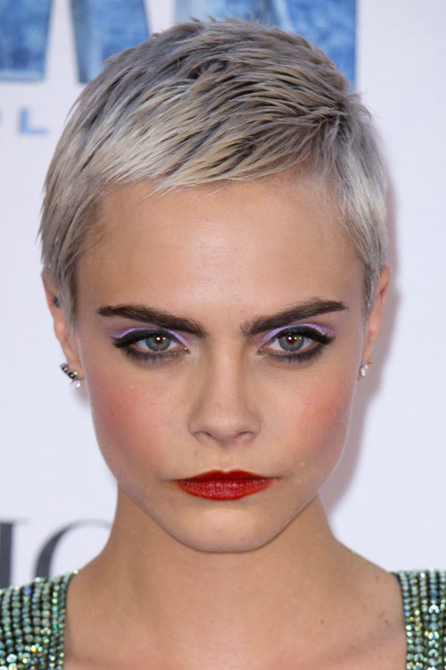 Cara Delevingne Straight Silver Pixie Cut Hairstyle