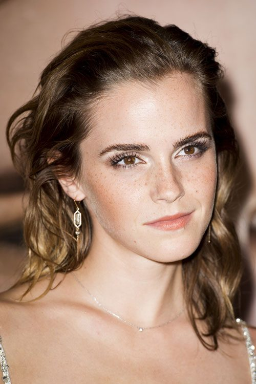 Emma Watson Wavy Medium Brown Barrel Curls Hairstyle
