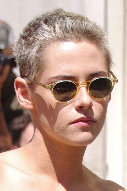 Kristen Stewart Straight Ash Blonde Buzz Cut Hairstyle ...