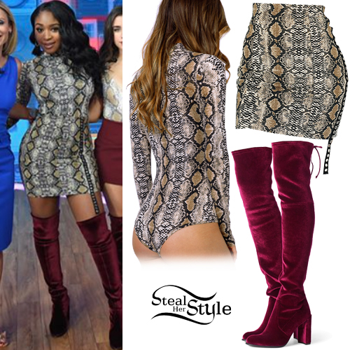 7c3551ae7fd Normani Kordei Hamilton  Snake Bodysuit and Skirt