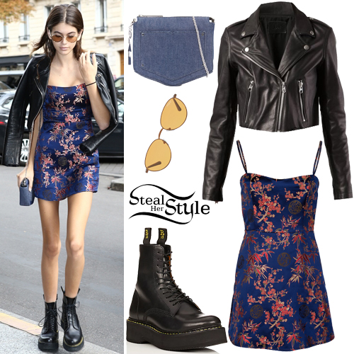 Kaia Gerber Blue Printed Dress Leather Jacket Steal