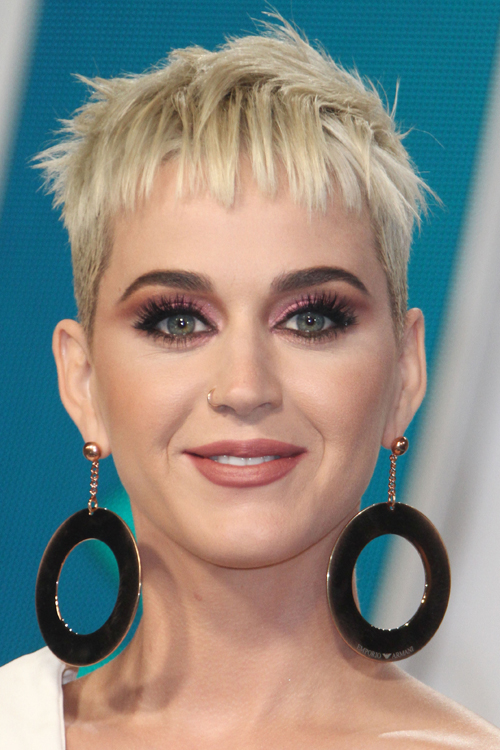 Katy Perry Straight Platinum Blonde Pixie Cut Hairstyle