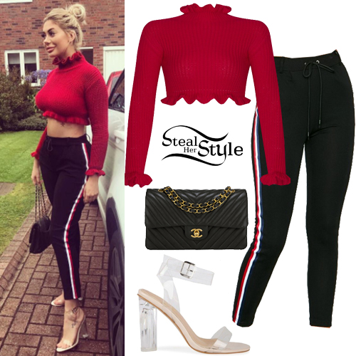 Chloe Ferry Red Crop Sweater Black Pants Steal Her Style