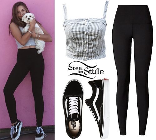 Mackenzie Ziegler Pinstripe Crop Top Black Leggings | Steal Her Style