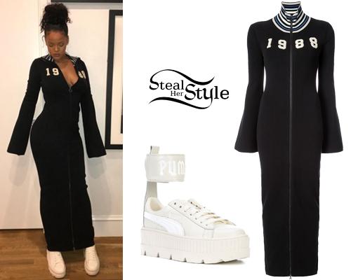Black Maxi Dress, Platform Sneakers