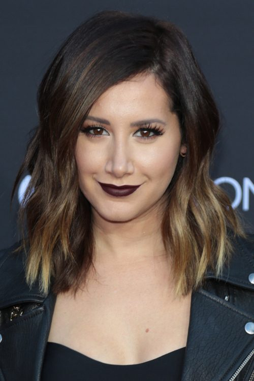 ashley tisdale wavy dark brown ombr233 twotone hairstyle