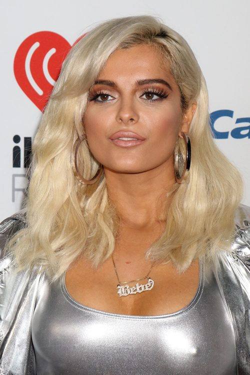bebe rexha wavy platinum blonde dark roots hairstyle steal her style