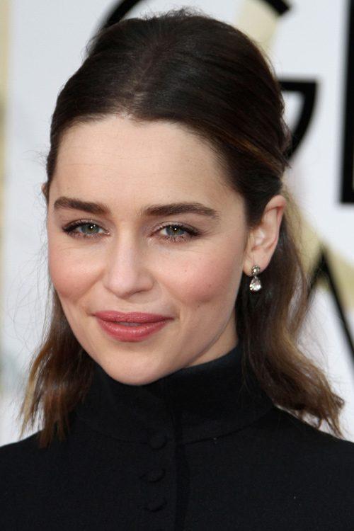 Emilia Clarke Wavy Dark Brown Blunt Cut Bob Pinned Back
