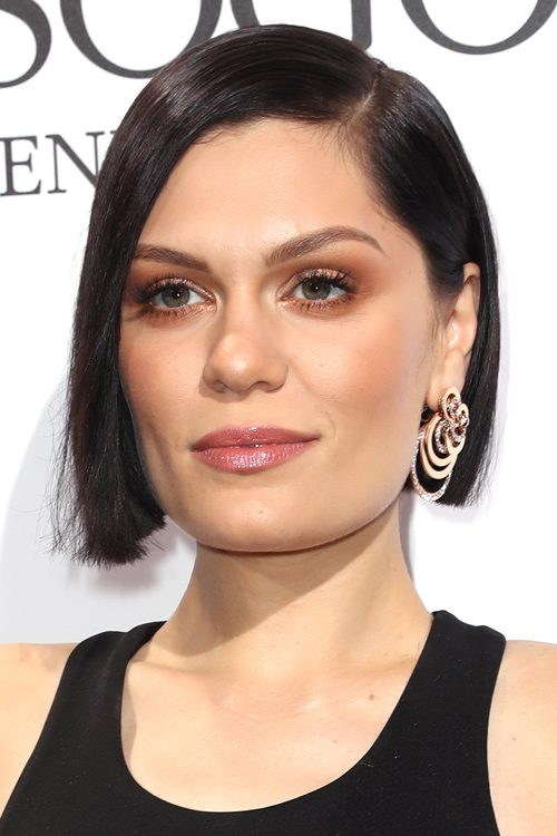 Jessie J Straight Dark Brown Blunt Cut, Bob Hairstyle ...