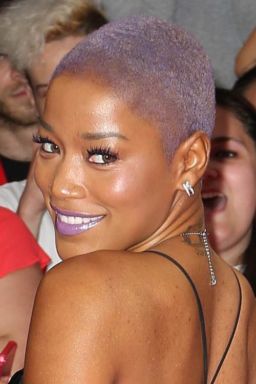 Keke Palmer Straight Purple Buzz Cut Uneven Color
