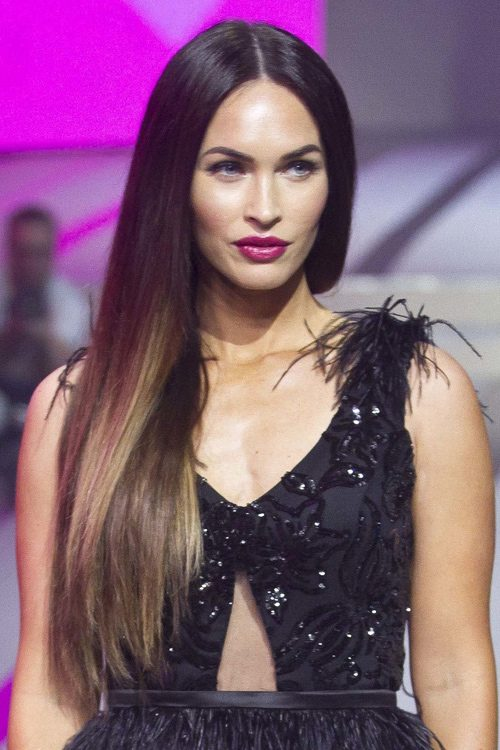 Megan Fox Straight Dark Brown Ombré, Side Part, Two-Tone ...
