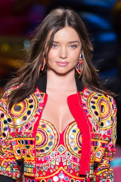 Miranda Kerr Straight Medium Brown Long Layers Peek A Boo