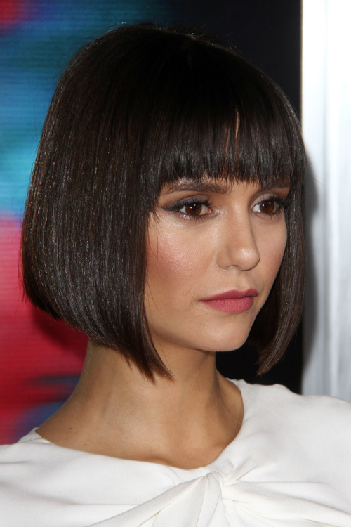 Nina Dobrev Straight Dark Brown Angled Bob Bob Straight