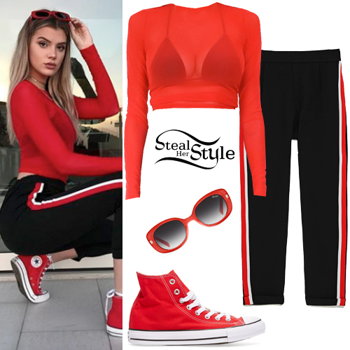 Alissa Violet Red Top Side Stripe Pants Steal Her Style
