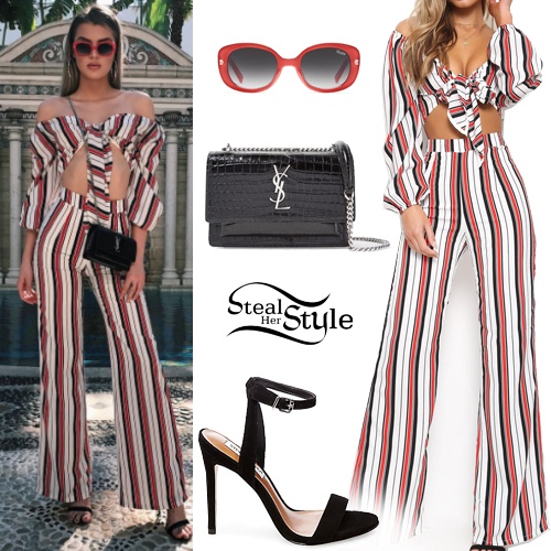 Alissa Violet Striped Crop Top And Pants Steal Her Style