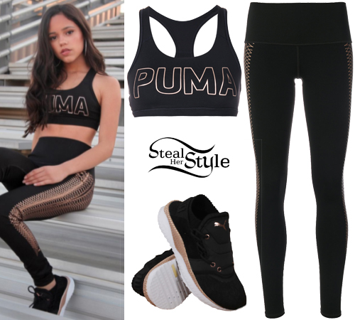 5e11cc3daee4b Jenna Ortega  Black-Gold Sport Bra and Leggings