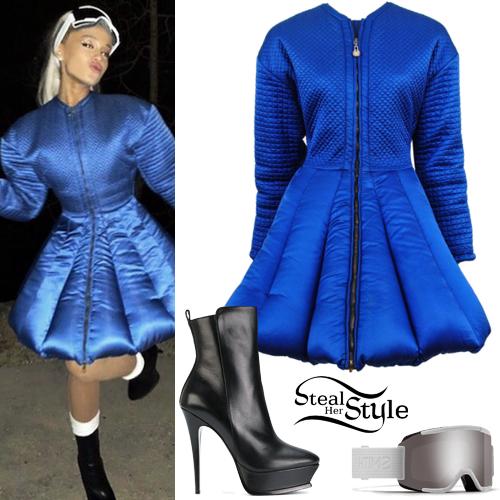 Ariana Grande Blue Puffer Coat Platform Boots Steal