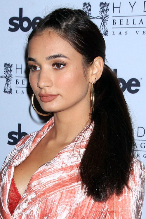 Pia Mia Perez Straight Dark Brown Low Ponytail Pompadour Ponytail Hairstyle Steal Her Style