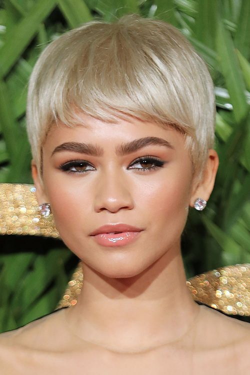 Zendaya Straight Platinum Blonde Pixie Cut Hairstyle