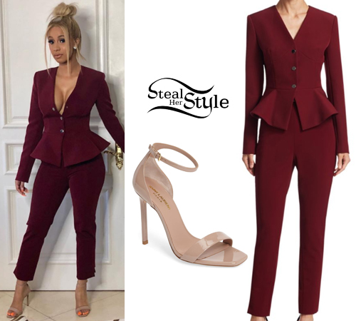 Cardi B: Burgundy Peplum Suit, Beige Sandals