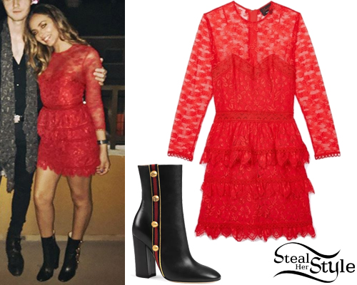 Jade Thirlwall Red Lace Dress Black Boots Steal Her Style