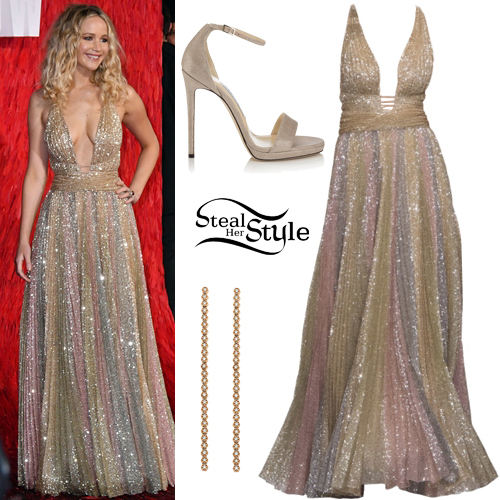 Jennifer lawrence clothes outfits steal her style jennifer lawrence sequined gown beige sandals voltagebd Image collections