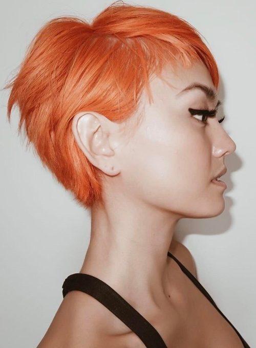 Agnez Mo Straight Orange Pixie Cut Uneven Color Hairstyle