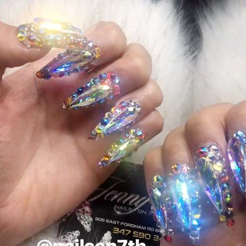 Cardi B Clear Jewels Nail Art Nails Steal Her Style