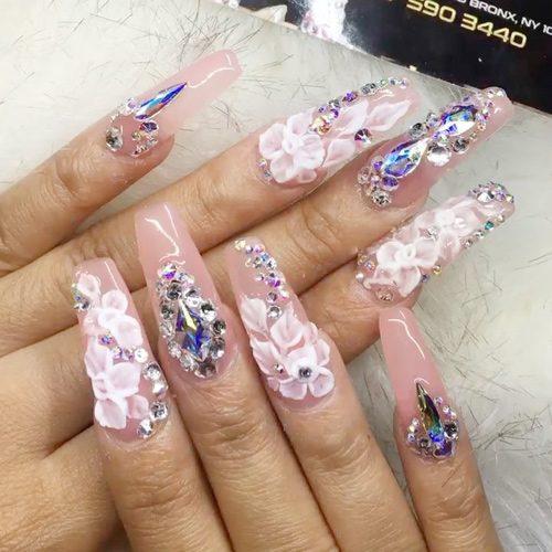 Cardi B Nails: Cardi B Light Pink Flowers, Jewels, Nail Art, Studs Nails
