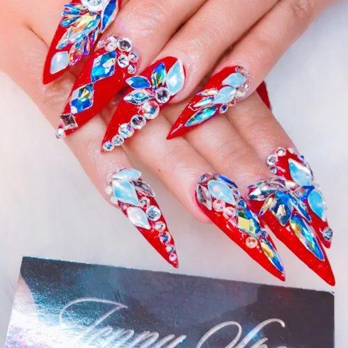 Cardi B Nail Art: Cardi B Red Jewels, Nail Art, Stones, Studs Nails