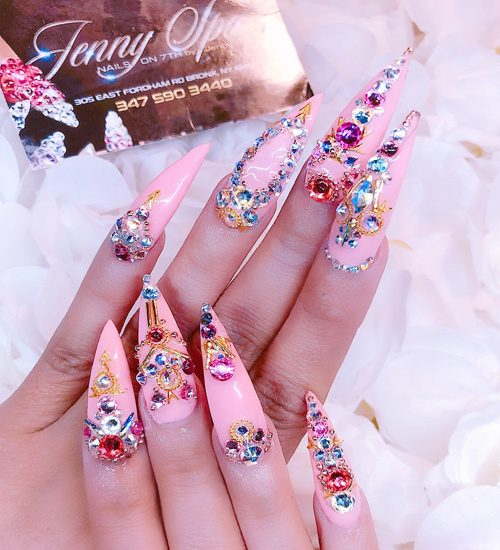 Cardi B Pink Jewels Nail Art Stones Studs Nails Steal Her Style