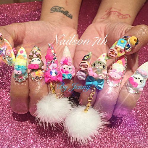 Cardi B Nails: Cardi B Pink, White, Yellow Bows, Charms, Hello Kitty