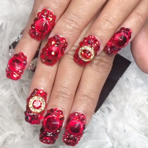 Cardi B Red Jewels Nail Art Studs Nails Steal Her Style